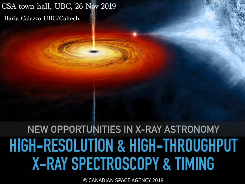Ilaria Caiazzo presents the next decade of X-ray Spectroscopy at the Vancouver LRP2020 Townhall.